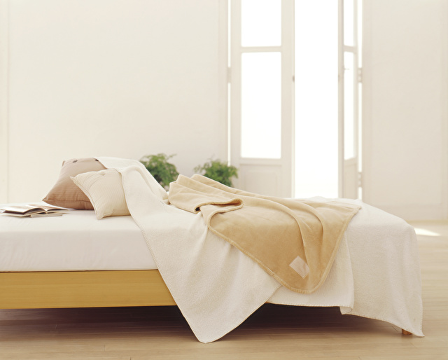 ベッドに敷かれた毛布