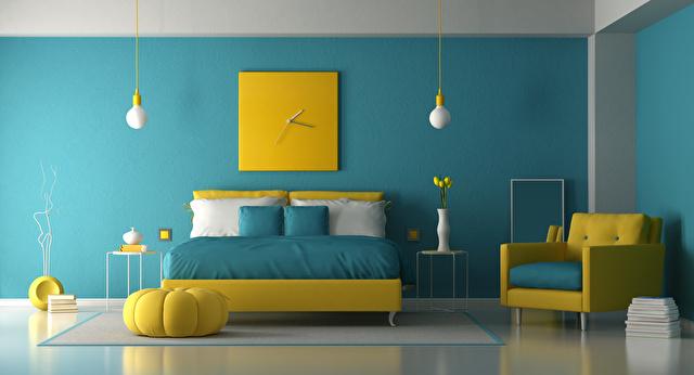寝室青と黄色イメージ