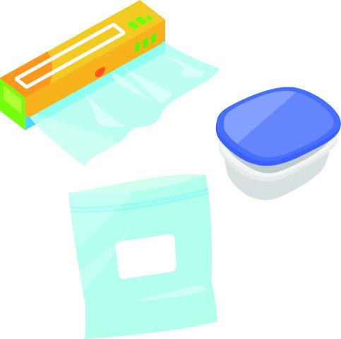 ラップ、タッパ、保存袋