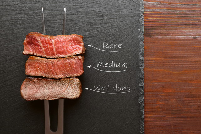 ステーキ肉の焼き加減3種類