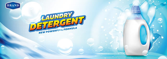 Laundry detergent banner. Blank bottle filled by detergent with water splash and bubbles on bright blue background ready for branding and ads design
