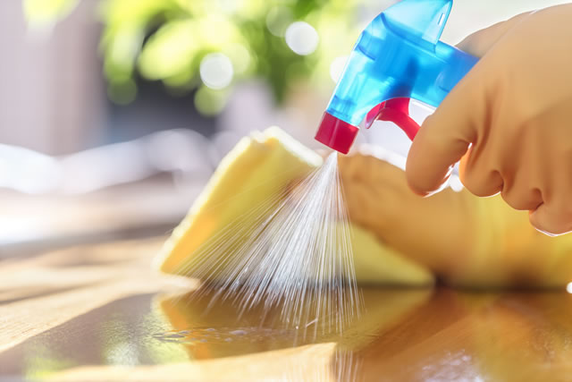 Cleaning with spray detergent, rubber gloves and dish cloth on work surface