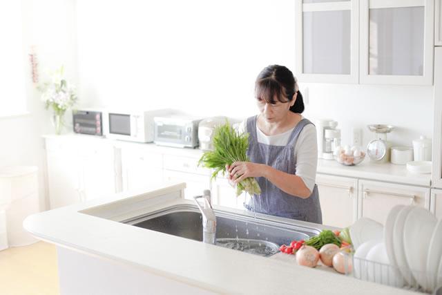 水菜を洗う女性