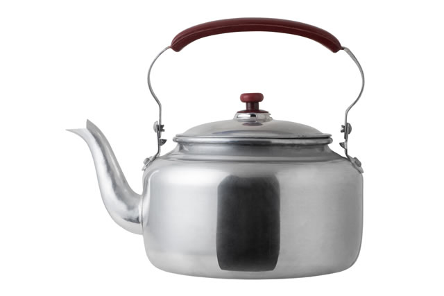 aluminum kettle isolated on white