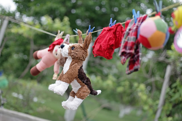 Kid's toys drying on the clothesline