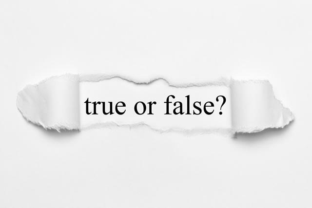 true or false on white torn paper