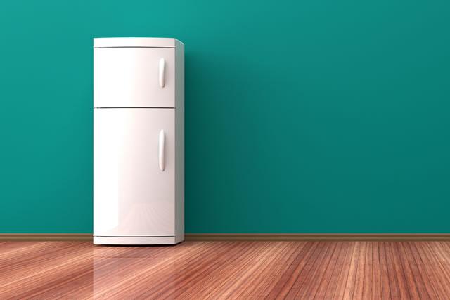 冷蔵庫と緑色の壁