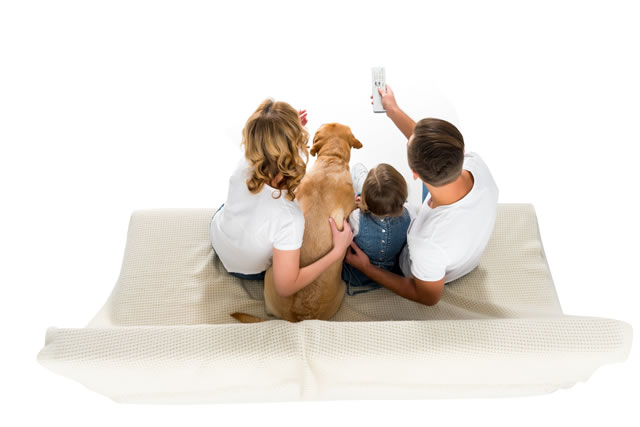 overhead view of family with dog watching tv on sofa, isolated on white