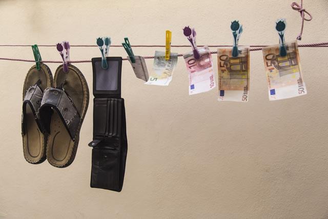 財布を乾かす