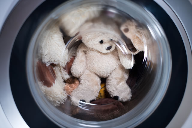 toys in the washing machine, close up