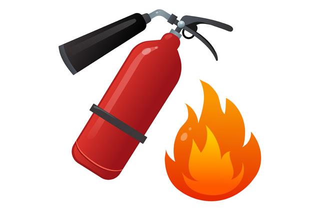 消火器と火事のイメージ