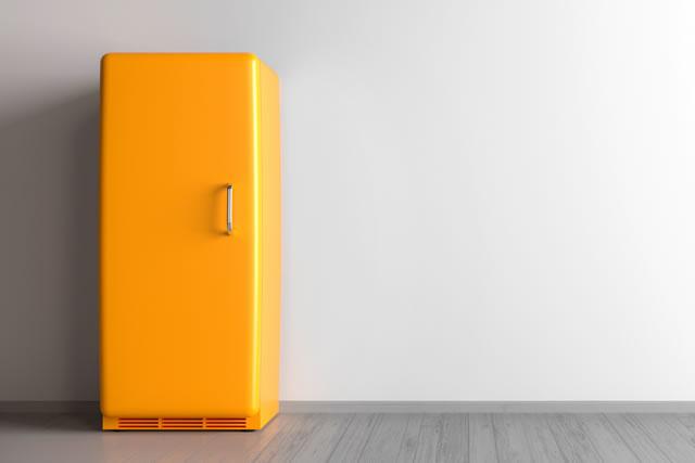 yellow refrigerator + retro fridge in an empty room - 3d illustration