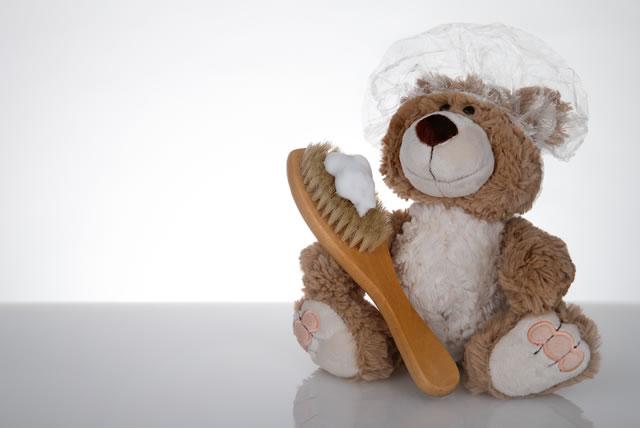 Teddy mit Duschhaube