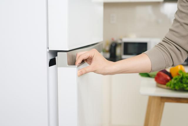 冷蔵庫の扉を開ける手