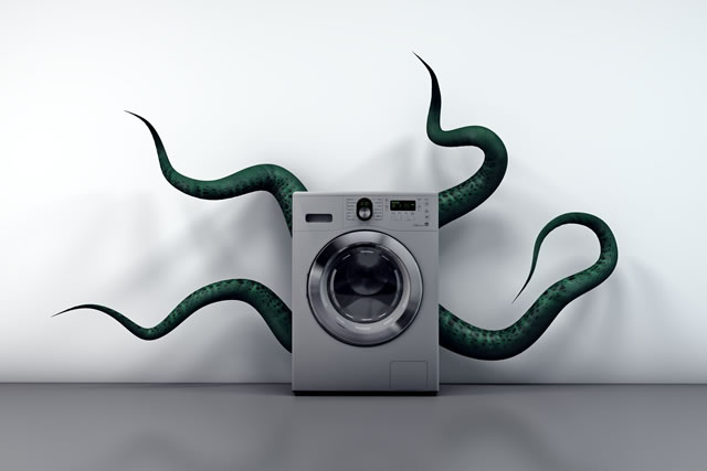 Washing machine with the monster of bad smells inside