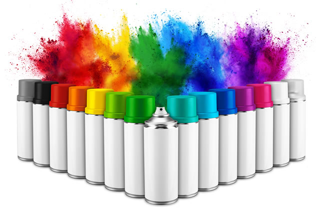 row of many spray can in colorful color in front of ainbow holi paint color powder explosion isolated white background. Industry diy paintjob graffiti concept.