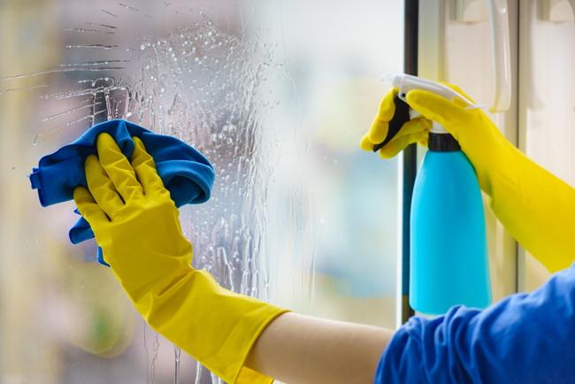 スプレーとクロスで窓を拭き掃除している