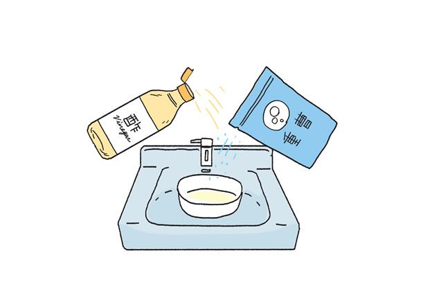 重曹と酢を洗面所に流す