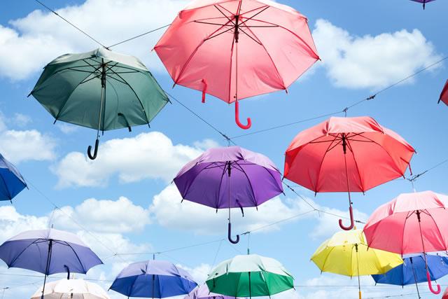 空に舞う傘