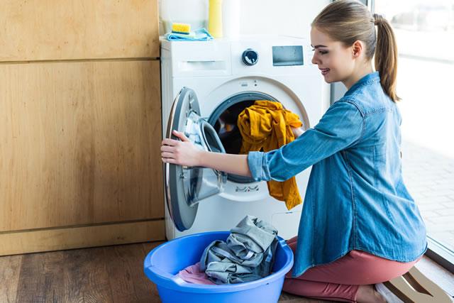 洗濯機と洗面器