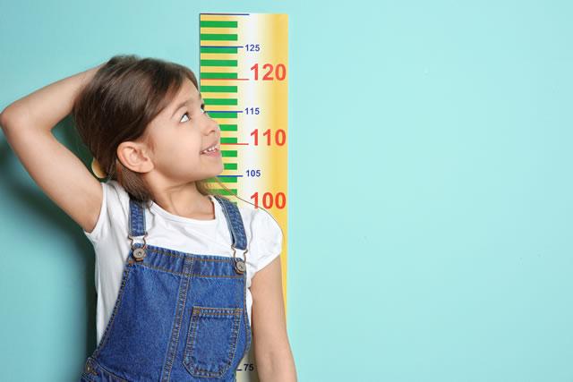 背を測る少女