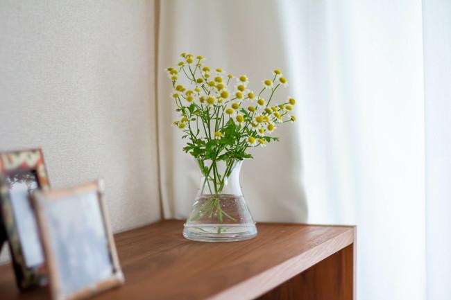 棚の上の花と写真立て