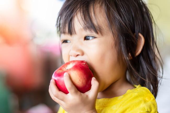 皮つきちんごを丸ごとかじる子供