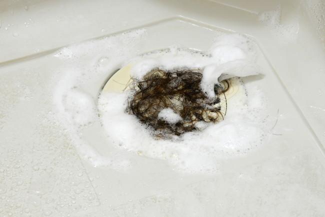 排水口にたまった髪の毛