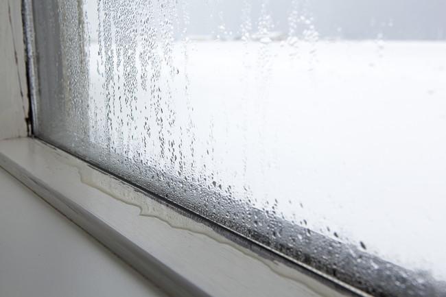 結露で水が溜まってしまった窓のサッシ