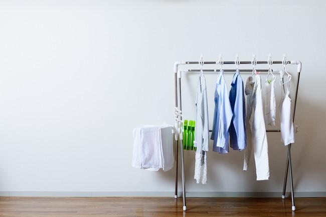 部屋干ししている洗濯物
