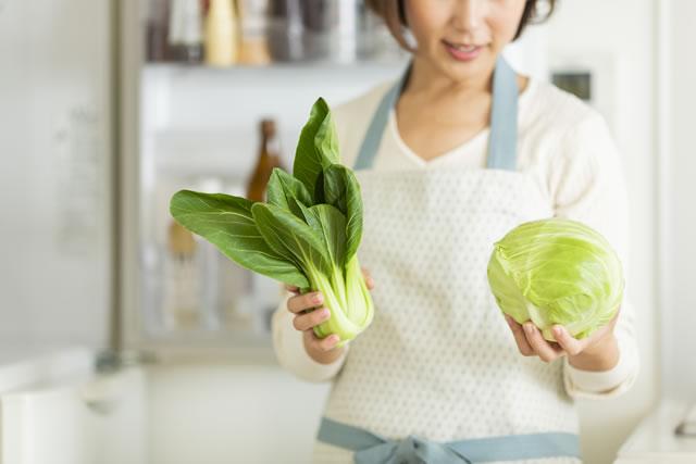 冷蔵庫に野菜をしまう主婦