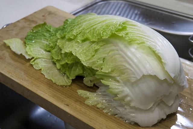 洗い終えた白菜