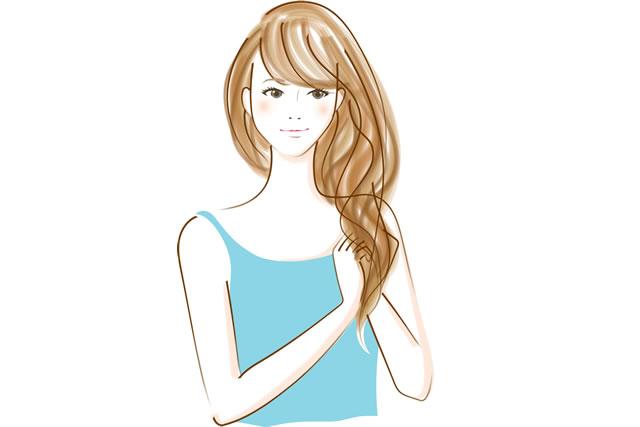 髪を整える女性のイラスト