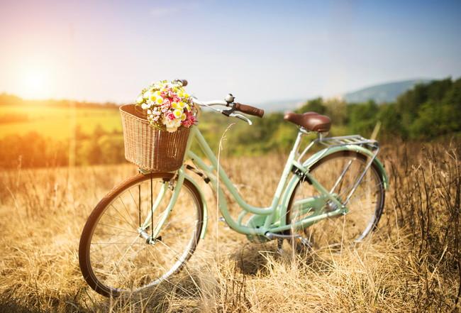 かごに花束が入っている自転車