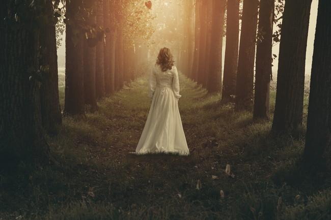 森の中を歩く白い服を着た女性の後ろ姿