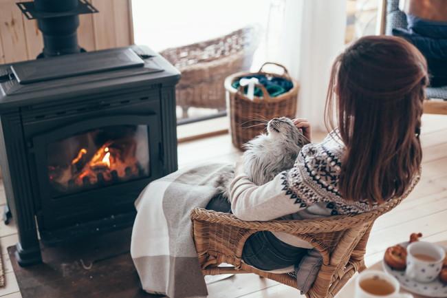 電気式薪ストーブで猫と一緒に暖を取っている女性