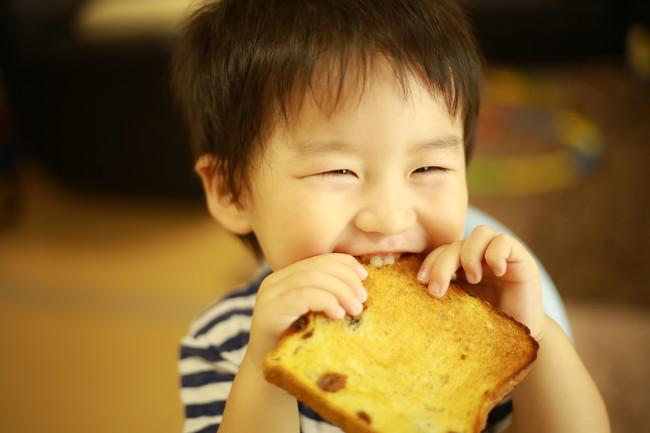 嬉しそうに食パンを食べている男の子