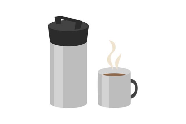 水筒とココアイラスト