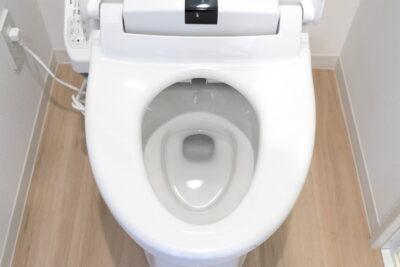 蓋カバーの開いた洋式トイレ便座