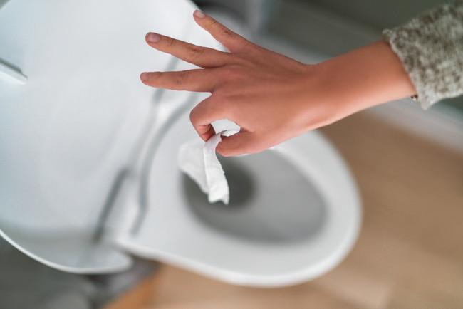 トイレに紙を捨てようとしているところ
