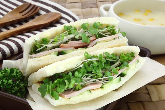 サンドイッチに挟んだブロッコリースプラウト_
