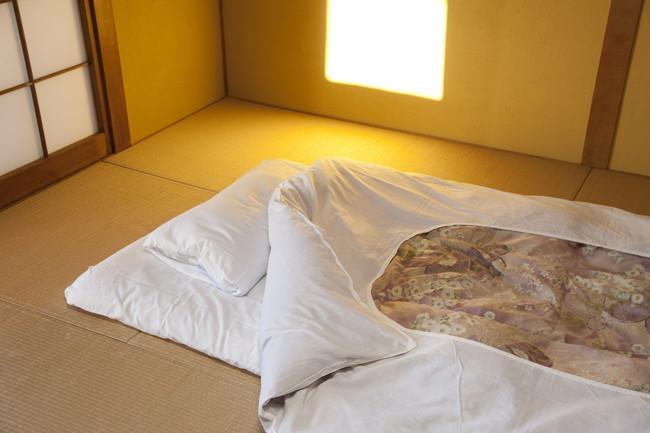 畳の上に敷いてある布団