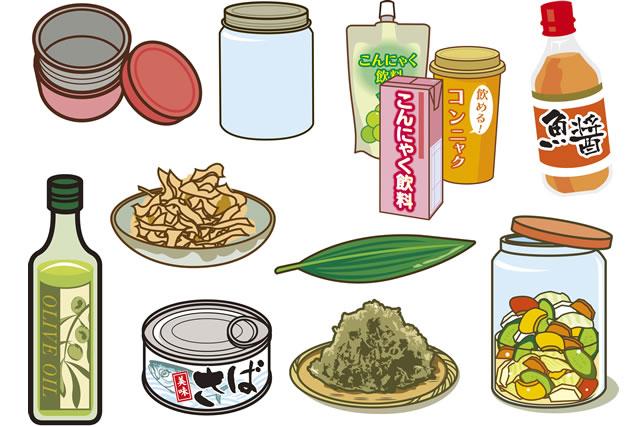 魚醤と薬味のイラスト