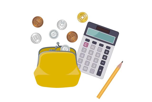 小銭と財布と電卓のイラスト