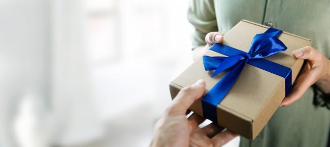 青いリボンのプレゼント