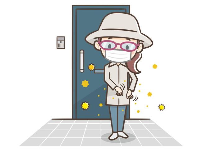 玄関に入る前に花粉やウィルスをはらっているイメージイラスト