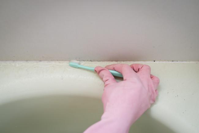 浴槽の目地の掃除