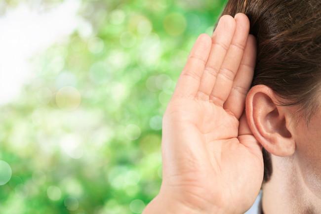 耳を澄ませるようす