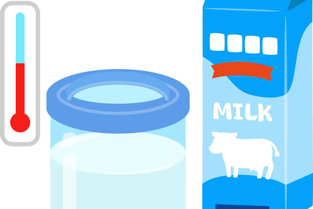 牛乳と温度計