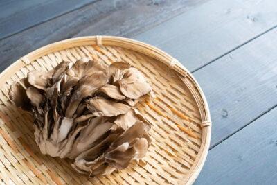 竹ざるの上の舞茸